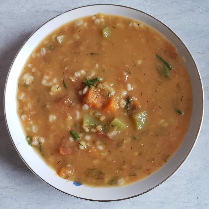 red lentil vegetable barley soup