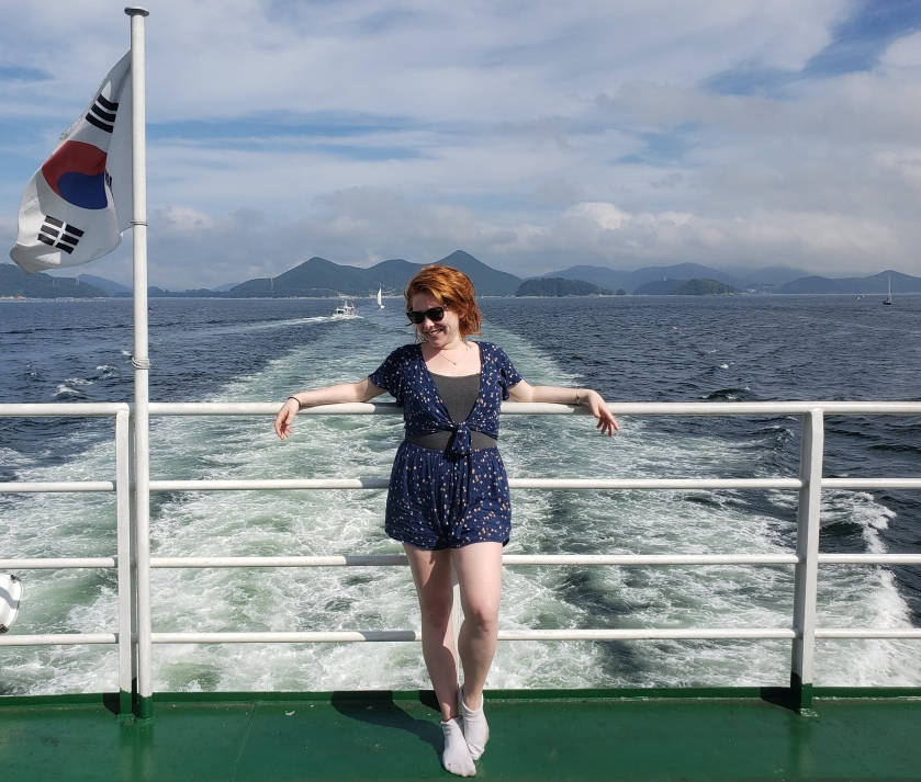 Redhead on boat in South Korean