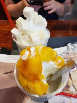 Mango ice cream parfait