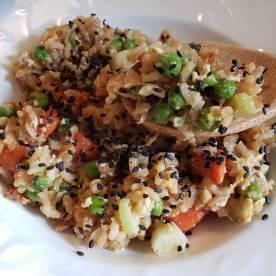 Rice rice with veggies, egg, and tofu