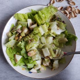 Romaine with apples and pistachios