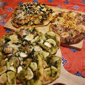 Four types of homemade pizza