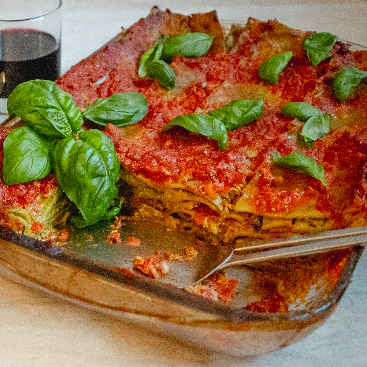 vegan lasagna and red wine